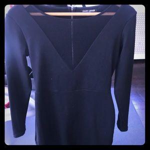 David Lerner black mini dress with sheer v neck